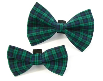 Green Plaid Dog Bow Tie