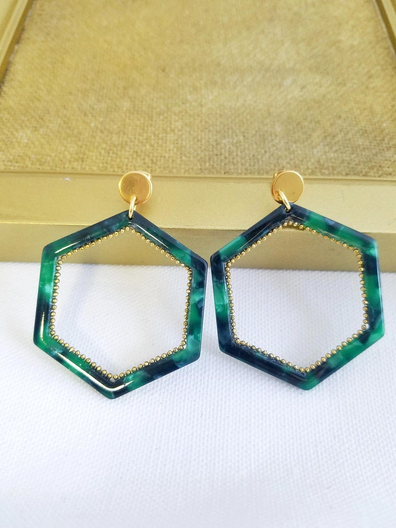 c1fd7c1fd2 Green Tortoise Shell Hoop Earrings Green Resin Hexagon