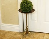 Vintage Brass Metal Plant Stand - Ornate - Home Decor - Metal Claw Foot
