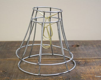 Lampshade frame etsy metal lampshade frames pair metal frame salvaged lighting parts greentooth