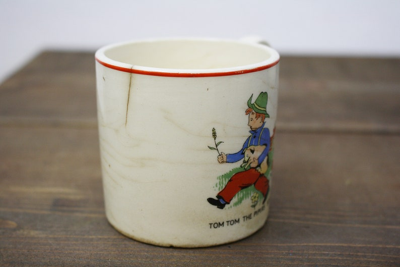 Tom Tom The Pipers Son Cup Little Jack Horner Bowl Aged Vintage Nursey Rhyme Cup and Bowl