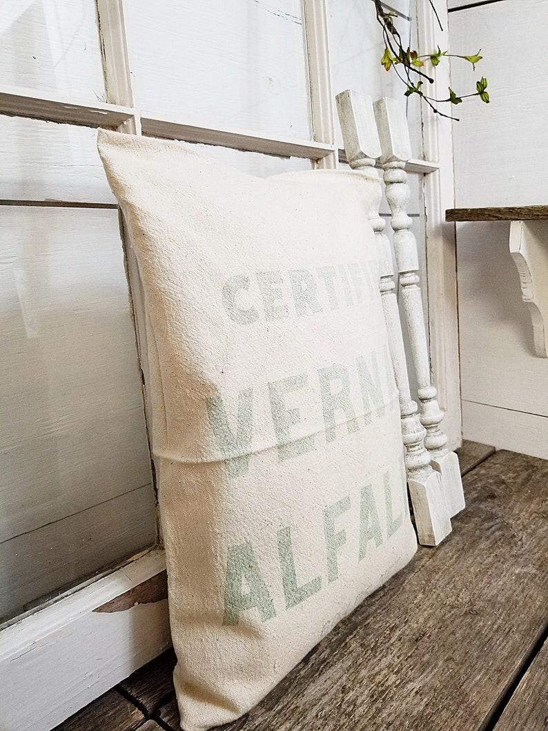 Alfalfa Seed Sack Vintage Seed Sack Pillow Farmhouse Seed Sack Throw Pillow Farmhouse Decor Home Decor
