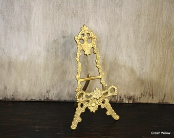 Vintage Brass Ornate Easel - Small Picture Holder - Home Decor - Wedding Decor