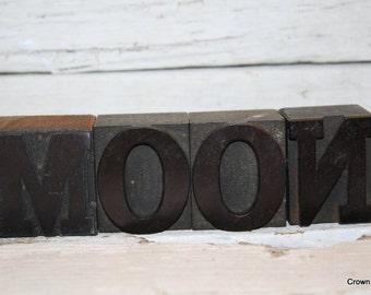 Vintage Letterpress Letters - Vintage Printing Decor - Wooden - Moon