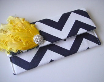SET OF 6 - Bridesmaids Clutch In Navy Chevron with Yellow Feather Pad, Wedding Clutch, Fold Over Clutch, Bridesmaids Accessories