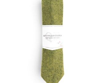 Green Wool Felt Skinny Tie - Wedding - Monogram