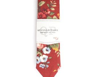 Floral Rouge - Skinny Tie - Wedding - Monogram - Groom