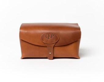 Handmade Men's Toiletry Case - Dopp Kit, Walnut - Monogram