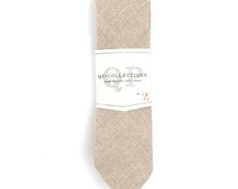 Soft Burlap - Skinny Tie - Wedding - Monogram - Groom