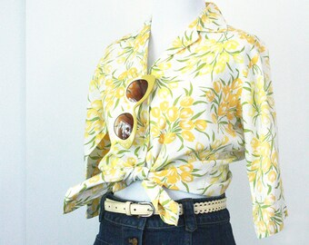 60s Yellow Floral Blouse - S/M