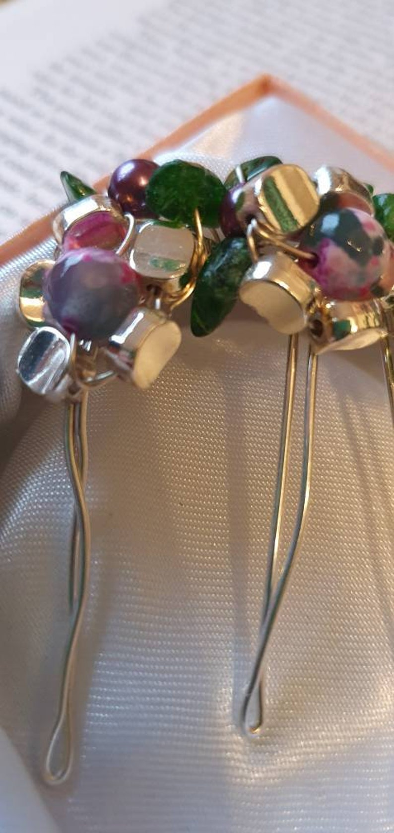 Beautifully hand crafted silver plated  beaded floral hair comb one of a kind