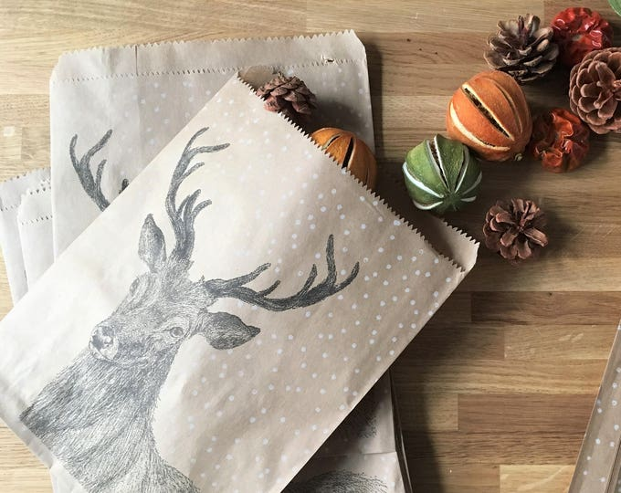 Featured listing image: Animal Christmas Paper Bags x 10, perfect for little treats and favours