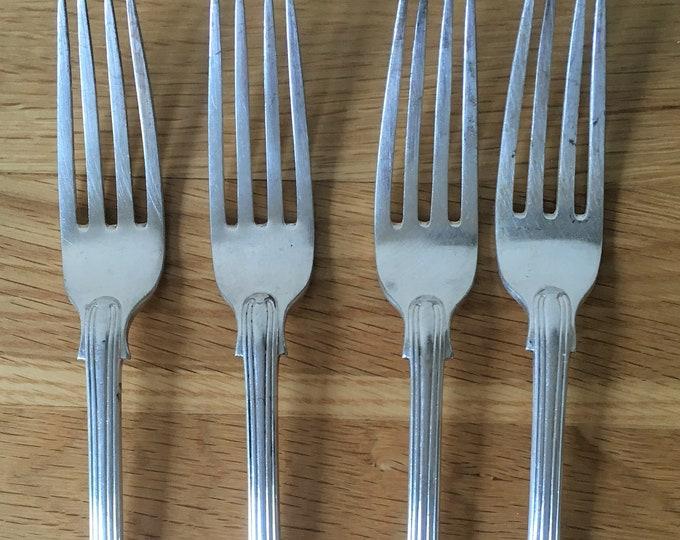 Four Monogrammed Dinner Forks, engraved cutlery, flatware, tableware, dinner party gift, housewarming, table forks, vintage cutlery
