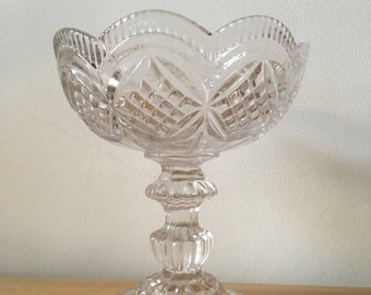 Pressed glass footed bon bon dish