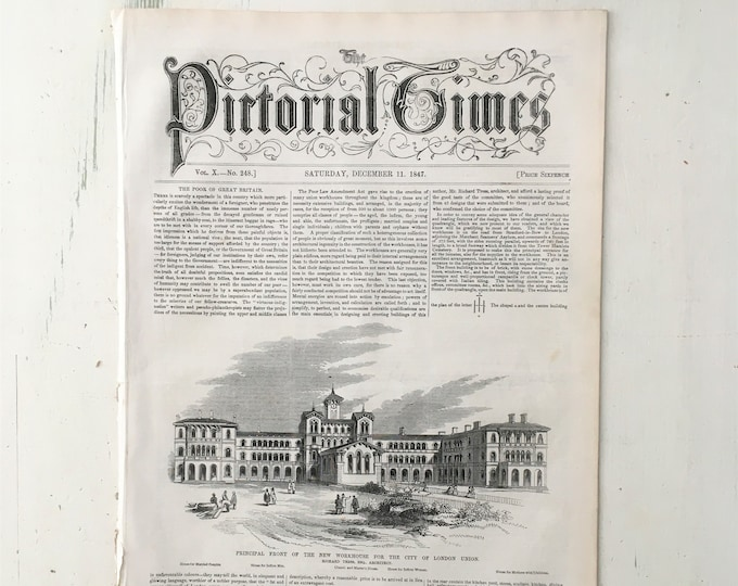 Antique 'Pictorial Times' Newspaper, 1847