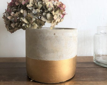 Concrete Pot with gold accent