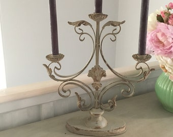 Metal Three-Arm Candelabra
