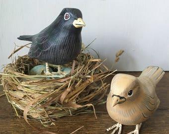 Hand-painted wooden birdies