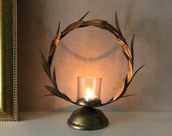 Gold Laurel Leaf candleholder