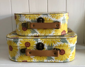 Pair of Sunflower Suitcases