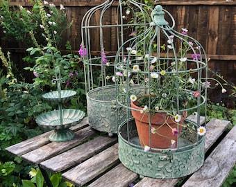 Metal hanging birdcage planter