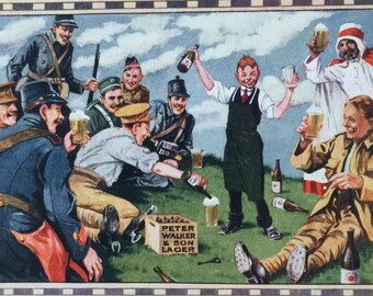 Early 20th century Lager advert illustration from The London Social Calendar