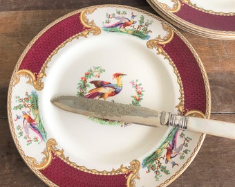 Set of four Myott 'Chelsea Bird' plates
