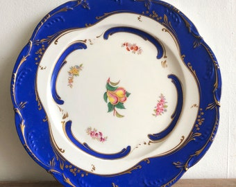 Antique royal blue cake plate
