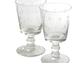 Etched wine glasses, set of four