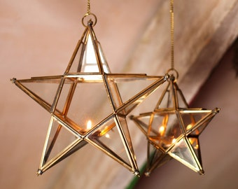 Handmade Glass Star tealight lantern