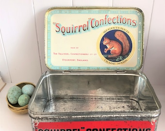 Vintage Squirrel Confectionary toffee tin