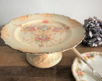 Antique floral cake stand