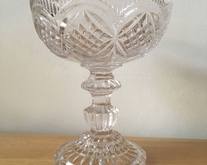 Pressed glass footed bon bon dish, table centre, English glassware, shabby chic, country home, wedding gift, dressing table, glass bowl