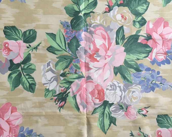 Vintage Floral Fabric, peonies, delphinium and roses, Next interiors, shabby chic, upholstery / soft furnishing projects
