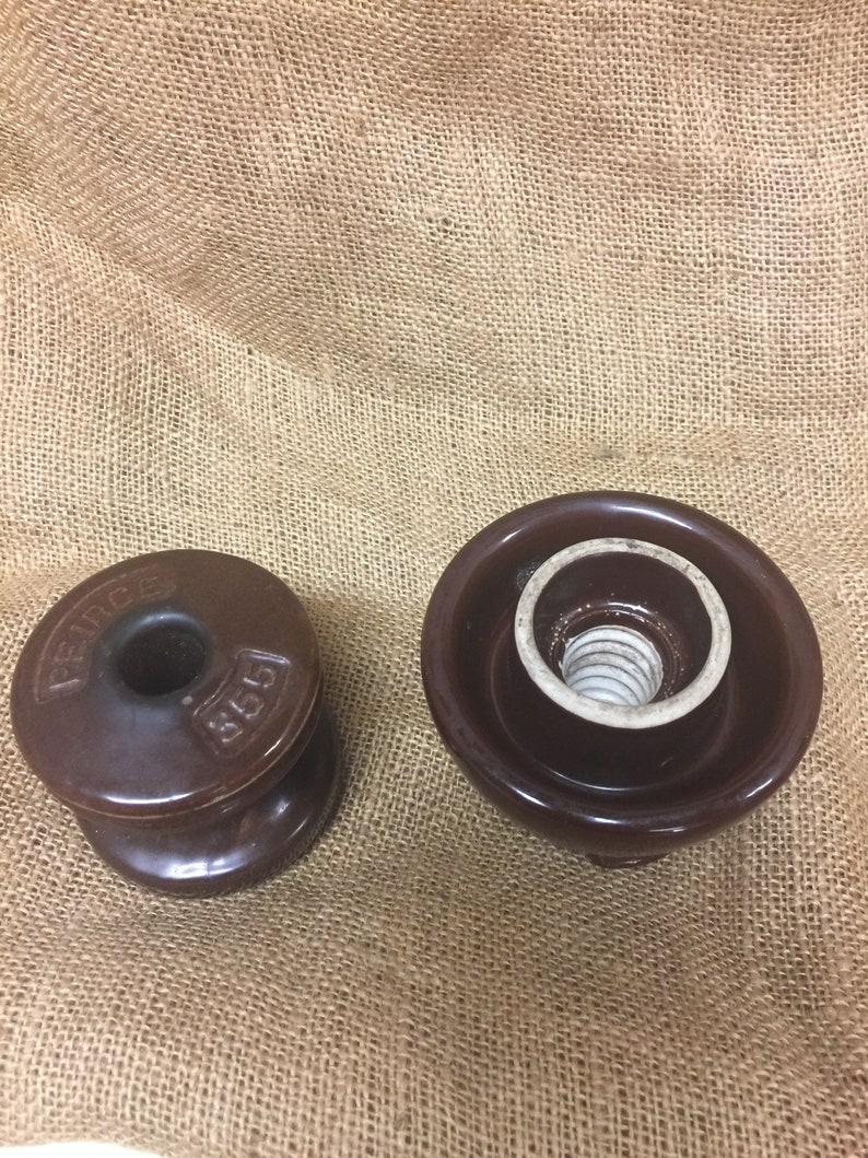 ANTIQUE Pole Insulators 2 Brown Ceramic Spools bx2