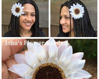 White Sunflower hair clip, white sunflower, sunflower barrette