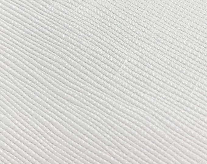 "Leather 12""x12""  Saffiano Weave Brilliant WHITE Embossed (Backside not nice) Cowhide 3.25-3.5 oz/1.1-1.2mm PeggySueAlso™ E8201-39"