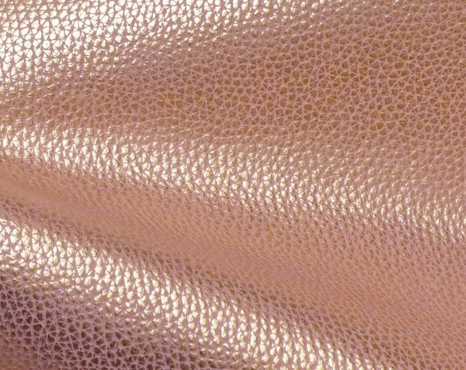 "Metallic Leather 12""x20"" + Bison Look GOLD Tipped BLUSH PINK Embossed Cowhide 2.5oz /1 mm PeggySueAlso™ E8115-05 Hides Available"