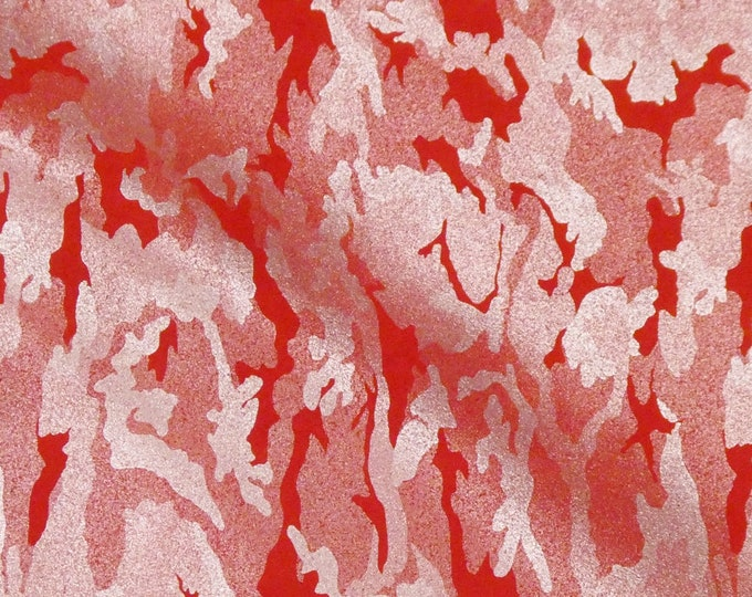 "Metallic Leather  8""x10"" Camo Soft SILVER on RED Suede Cowhide 3-3.5 oz / 1.2-1.4 mm PeggySueAlso™ E2030-20 hides available"