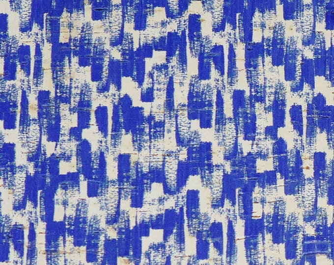 """Cork 12""""x12"""" ROYAL BLUE Paint Brush Strokes on white CORK applied to Leather for body /strength Thick 5oz/2mm E5610-101"""