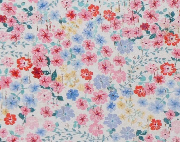 "Cork 5""x11"" PINK & BLUE FLOWERS on WhITE Cork on Cowhide Leather for body/strength Thick 5oz/2mm E5610-24"