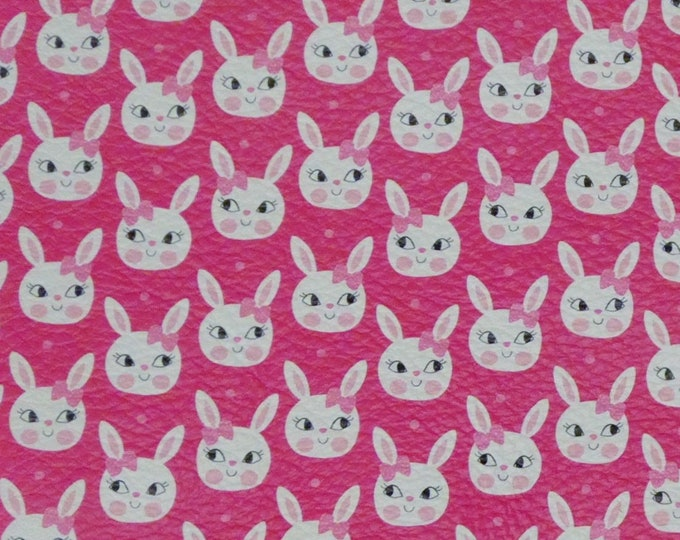 Leather 3 or 4 or 5 or 6 sq ft Cute Easter Bunnies on Hot Pink Cowhide 3-3.5 oz/1.2-1.3 mm PeggySueAlso™ E1380-06 Hides Available