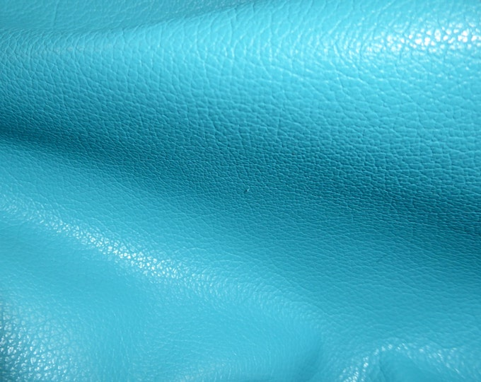 """Leather 8""""x10"""" DIVINE True Turquoise top grain Cowhide  2-2.5 oz / .8-1 mm PeggySueAlso™ E2885-17 Full hides available"""