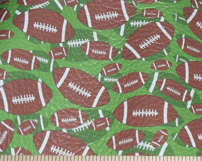 "Leather 8""x10"" FOOTBALLS on GREEN cowhide 2.5-3 oz / 1-1.2 mm PeggySueAlso™ E1230-02 full hides available"