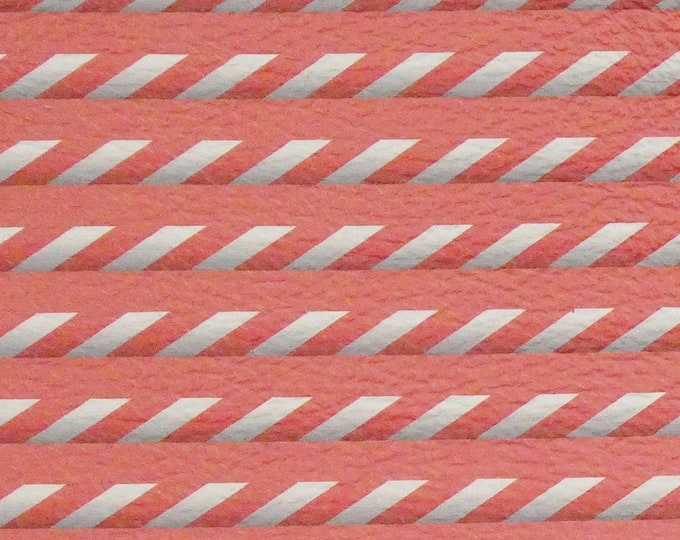"Leather 12""x12"" SHUTTER Striped CORAL Cowhide 3-3.5 oz / 1.2-1.4 mm PeggySueAlso™ E3088-01"