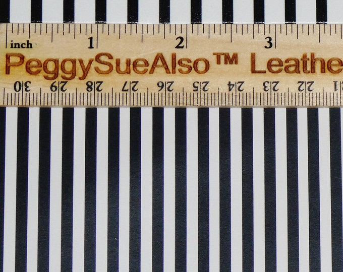 SMALLER stripe 3-4-5-6-7-8 sqft PETITE Black and White stripes (50% less white) on Cowhide Leather 2.75-3oz/1.1-1.2mm PeggySueAlso™ E3096-01