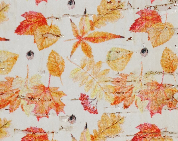 """Cork 8""""x10"""" Fall MAPLE Leaves on WHITE Cork on Cowhide for body/strength Thick 5oz/2mm PeggySueAlso™ E5610-71"""