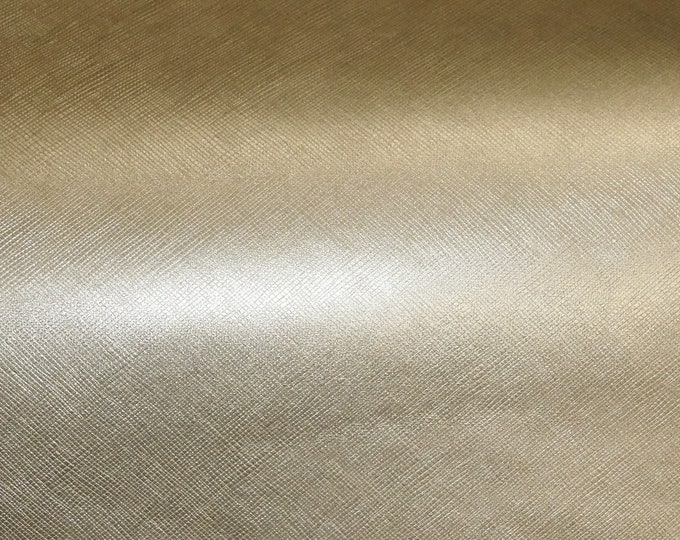 "Metallic Leather 8""x10"" Saffiano PLATINUM Weave Embossed ITALIAN Cowhide 2.5-3oz/ 1-1.2mm PeggySueAlso™ E8201-15 Hides available"