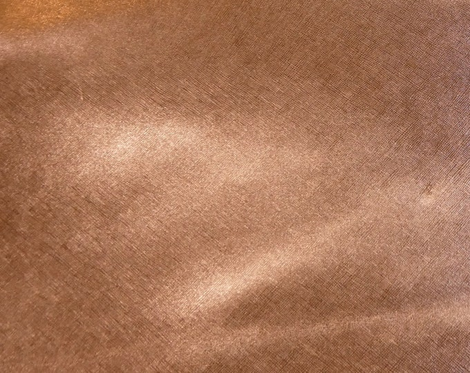 "Metallic Leather 12""x12"" SAFFIANO Rose Gold Weave Embossed Cowhide USA 3 oz /1.2mm PeggySueAlso™ E8201-11 hides available"