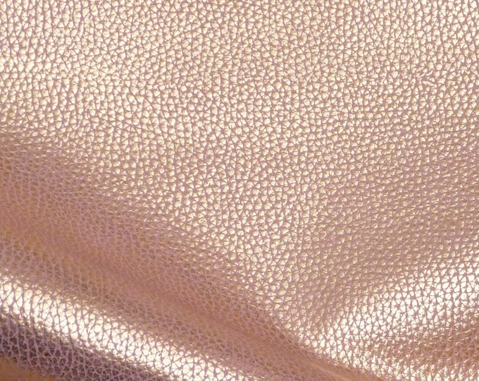 """Metallic Leather 8""""x10"""" Bison Look GOLD Tipped BLUSH PINK Embossed Cowhide 2.5oz /1 mm PeggySueAlso™ E8115-05 Hides Available"""